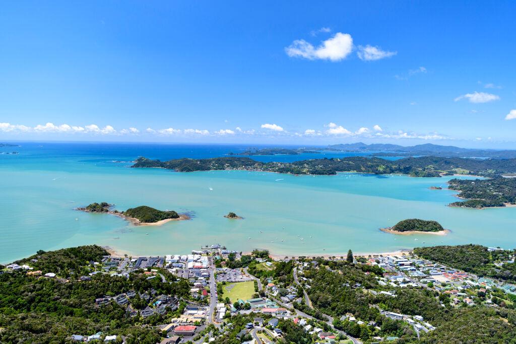 Aerial shot of Paihia, Bay of Islands, Northland New Zealand